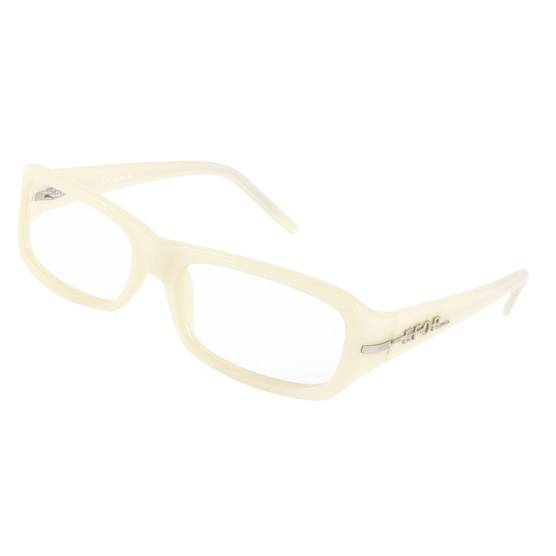 Off White Plastic Rectangle MC Lens Plano Glasses for Ladies