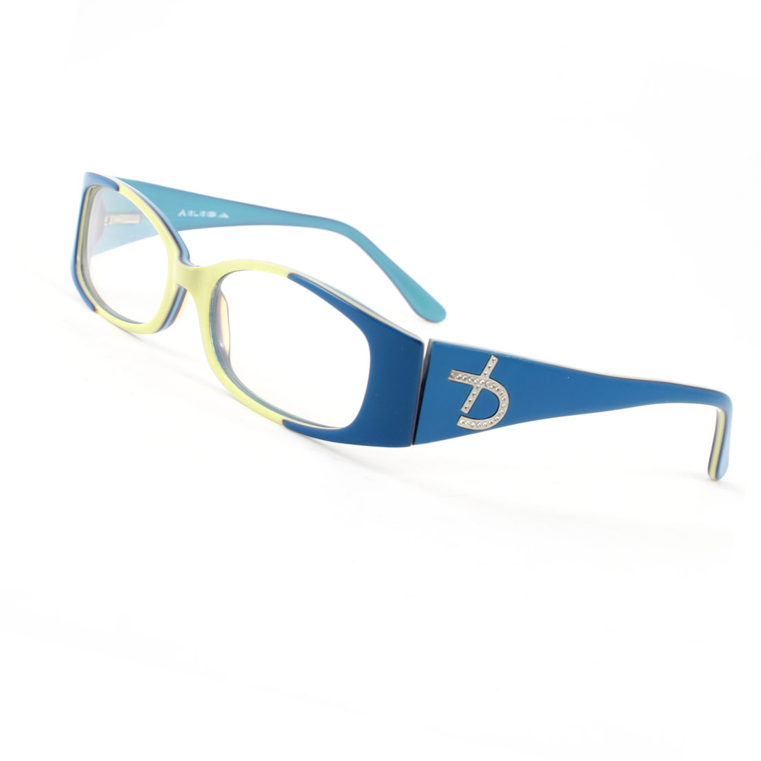 Plastic Single Bridge Clear Lens Plano Glasses Blue Yellow for Ladies Woman