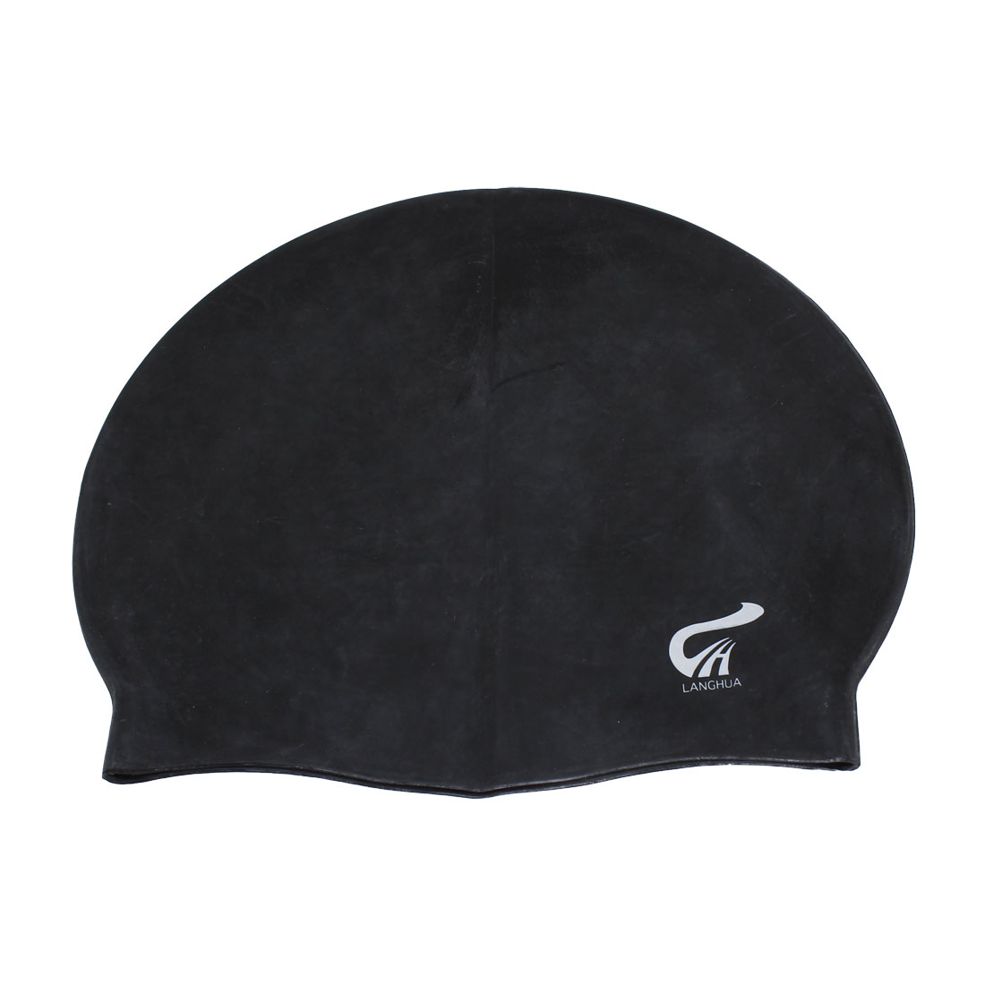 Women Men Soft Silicone Dome Shaped Elastic Swimming Hair Cover Protector Swim Cap Hat Black