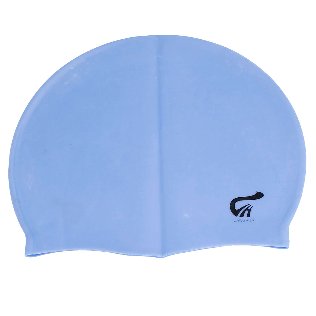 Women Men Soft Silicone Hair Protector Bubble Swimming Cap Hat Light Blue