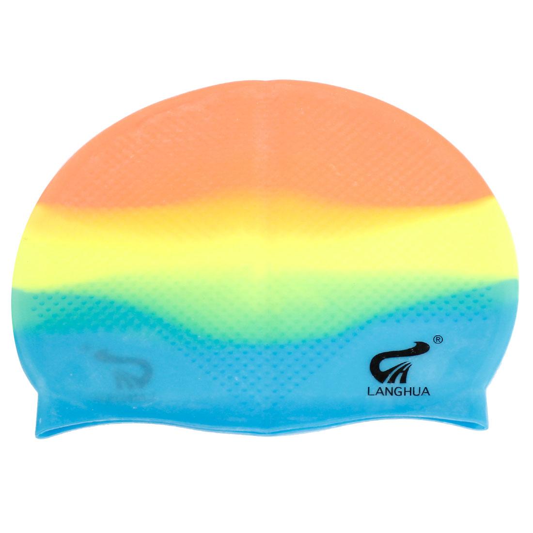 Tricolor Soft Silicone Antislip Swimming Swim Cap Hat for Unisex