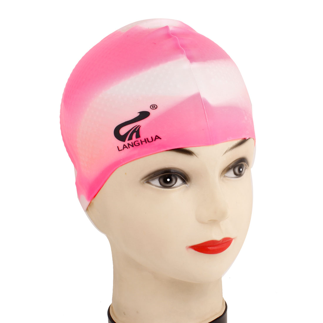 White Pink Soft Silicone Antislip Swimming Swim Cap Hat for Unisex