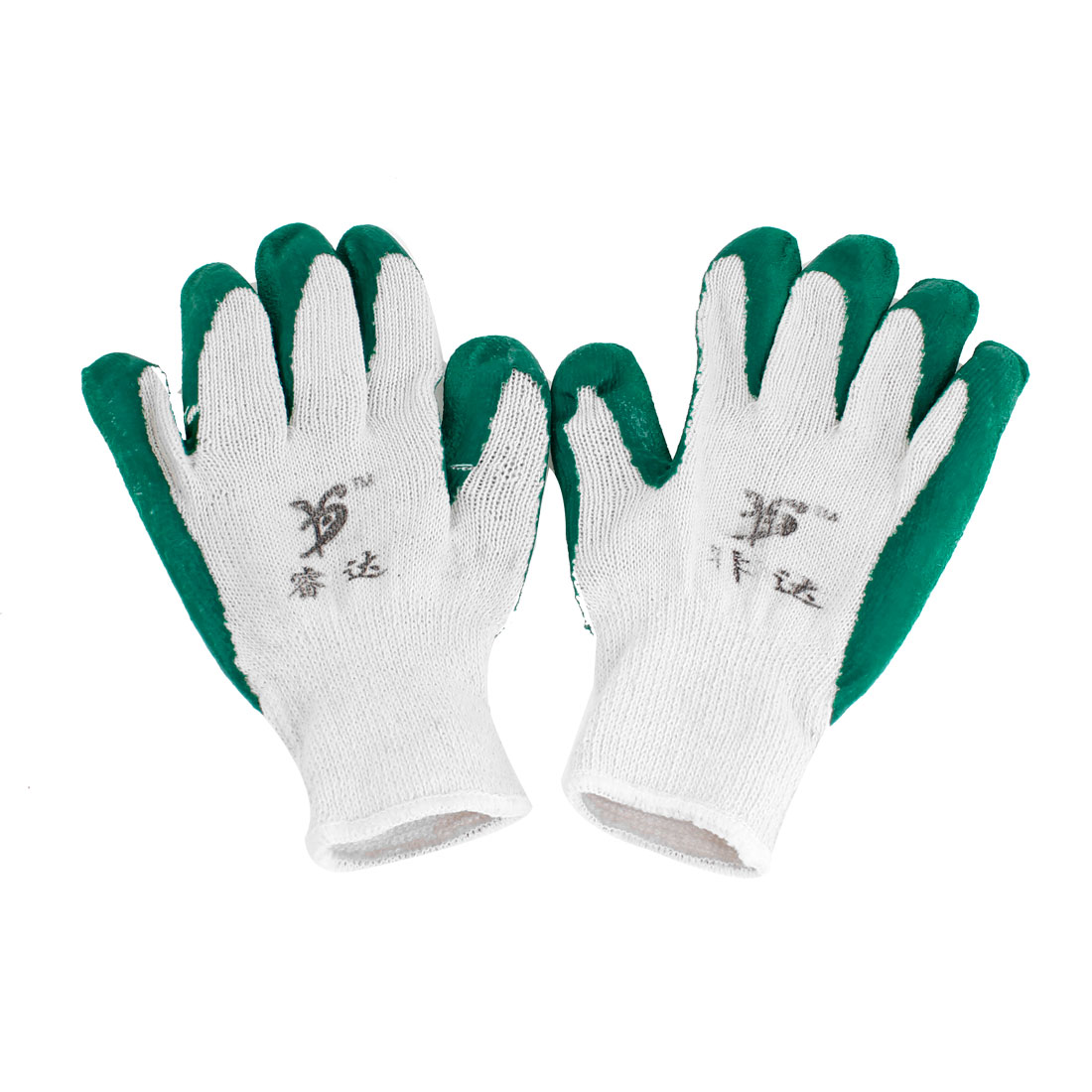 Elastic Cuff Green Latex Rubber Coated Gardening Working Gloves White Pair