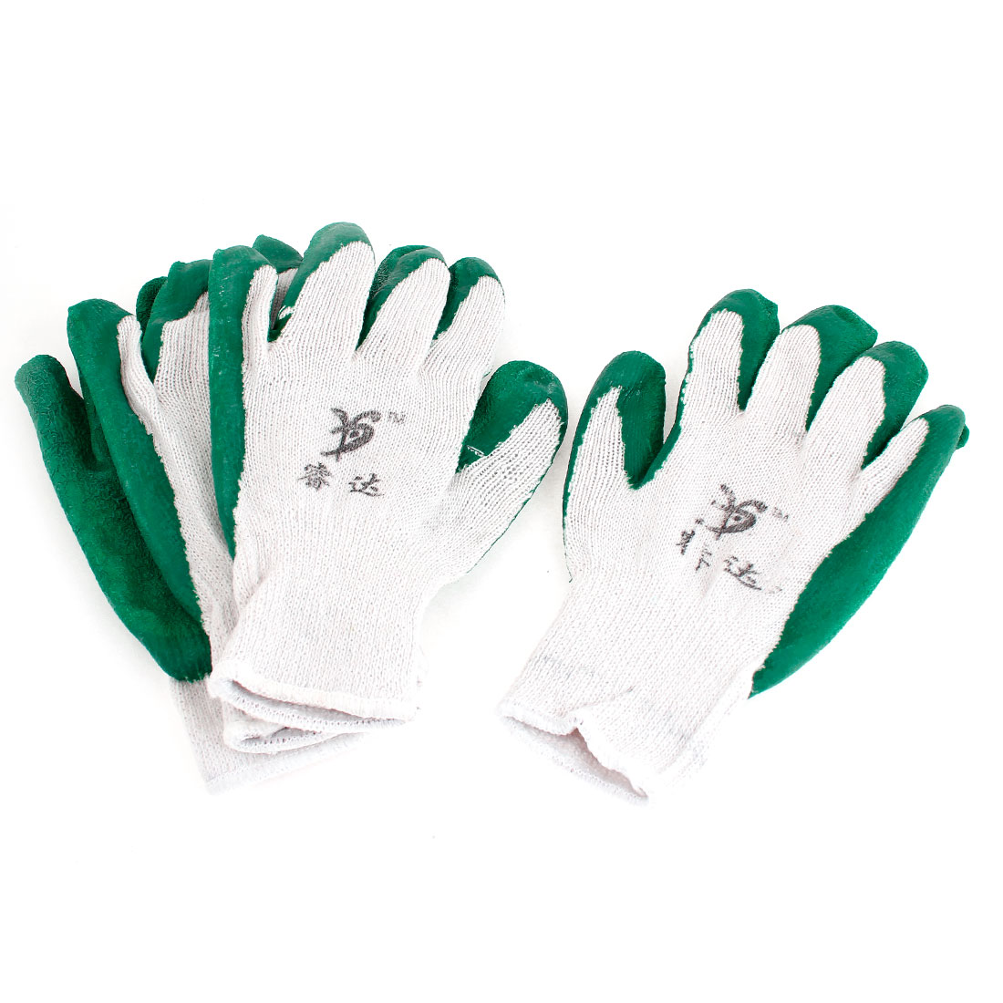 2 Pair Green Latex Rubber Coated Plam Protective Working Labor Gloves White