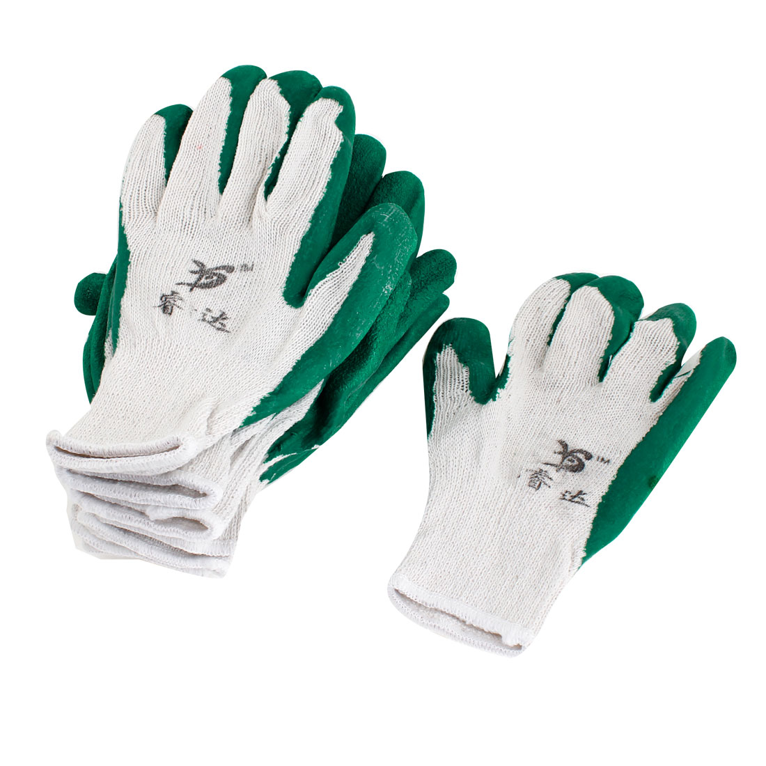 Elastic Cuff Latex Rubber Wrapped Plam Work Labor Gloves Green White 10 Pcs