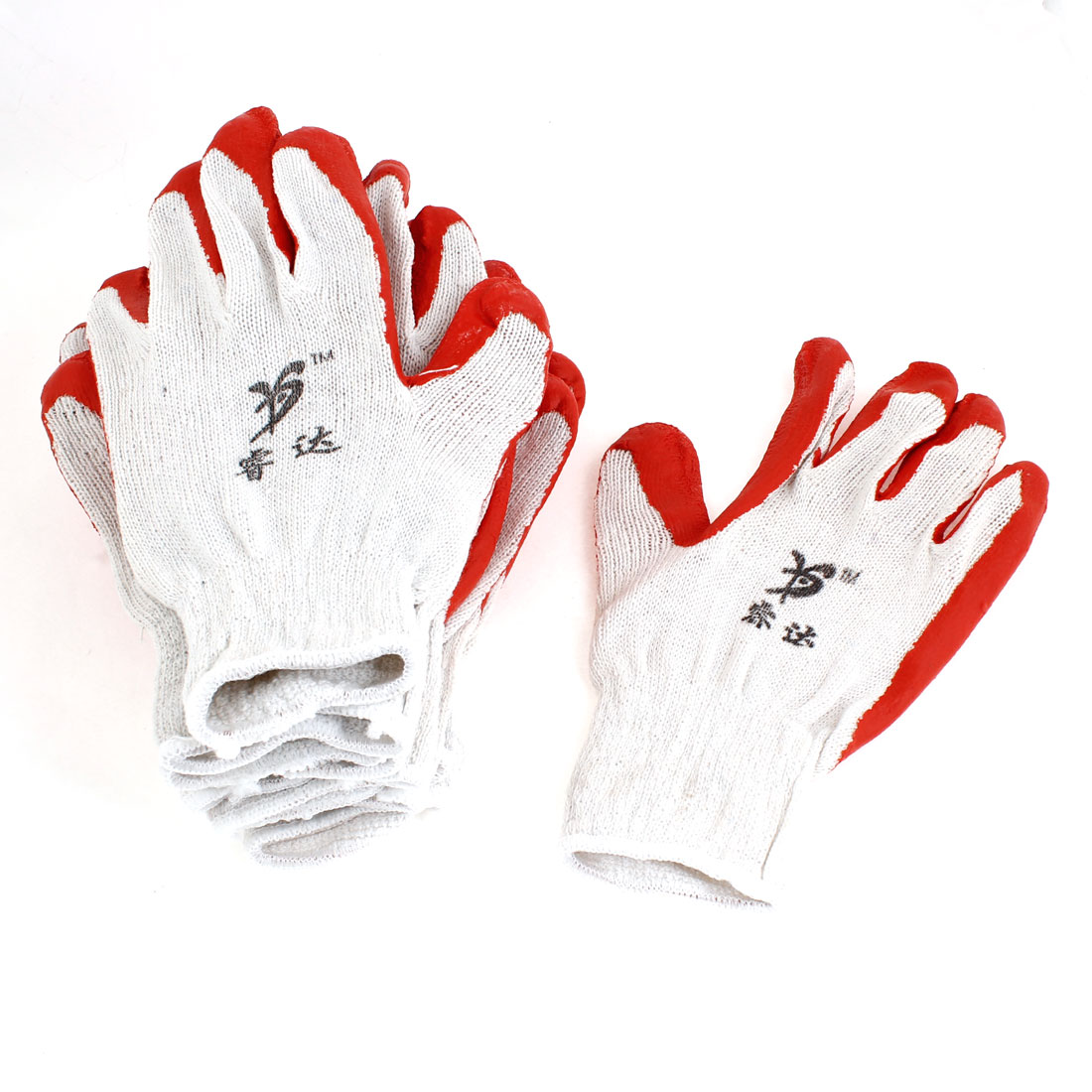 Elastic Cuff Latex Rubber Wrapped Plam Work Labor Gloves Red White 10 Pcs