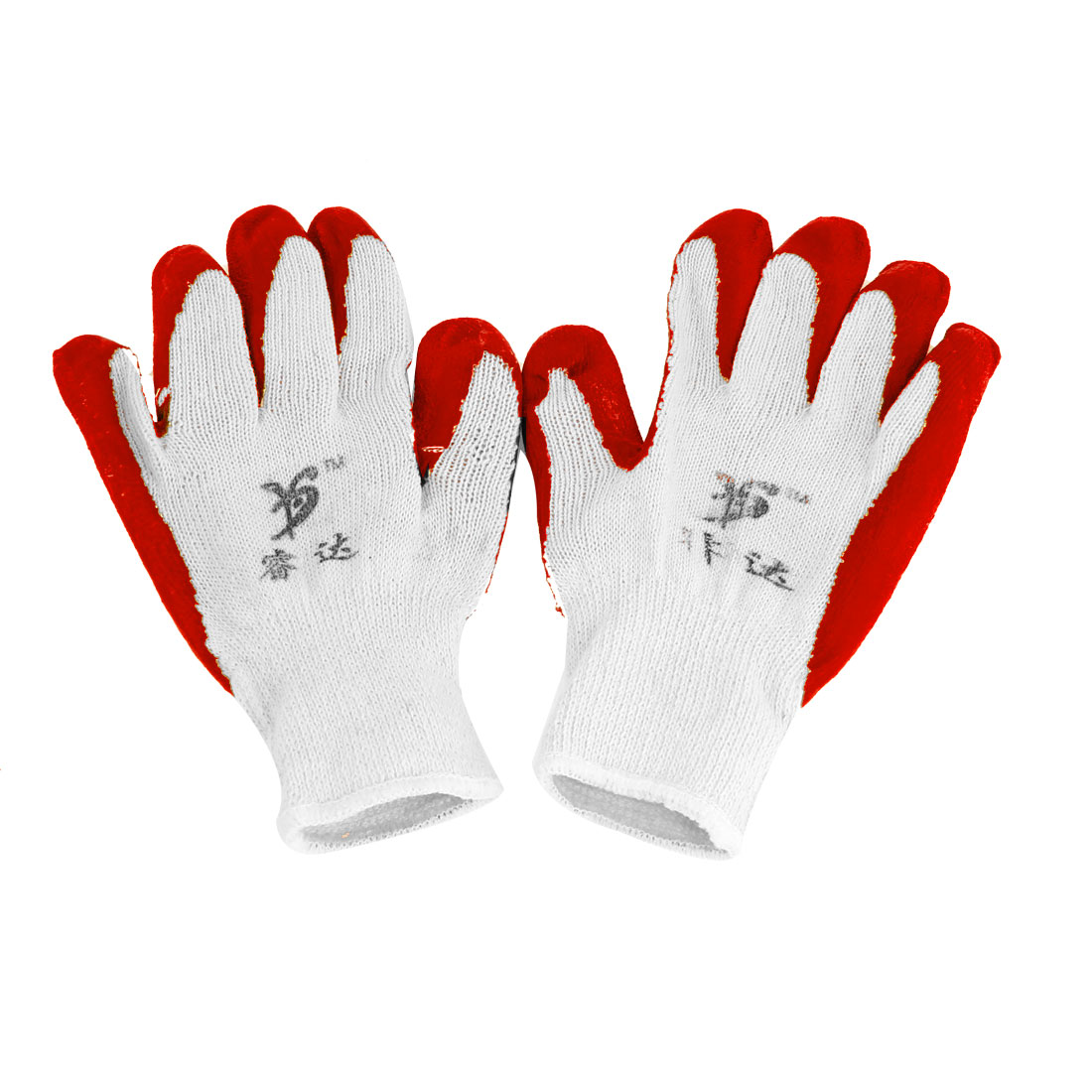 2 Pcs Elastic Cuff Latex Rubber Wrapped Plam Work Labor Gloves Red White