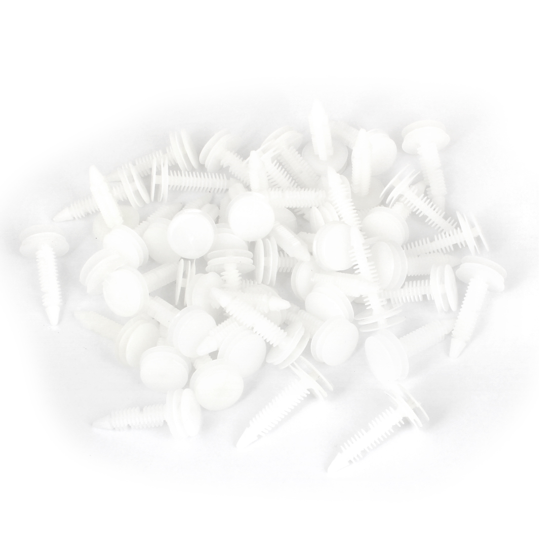 "50 Pcs Vehicle 0.3"" Hole White Door Plastic Replacement Rivets Fastener"