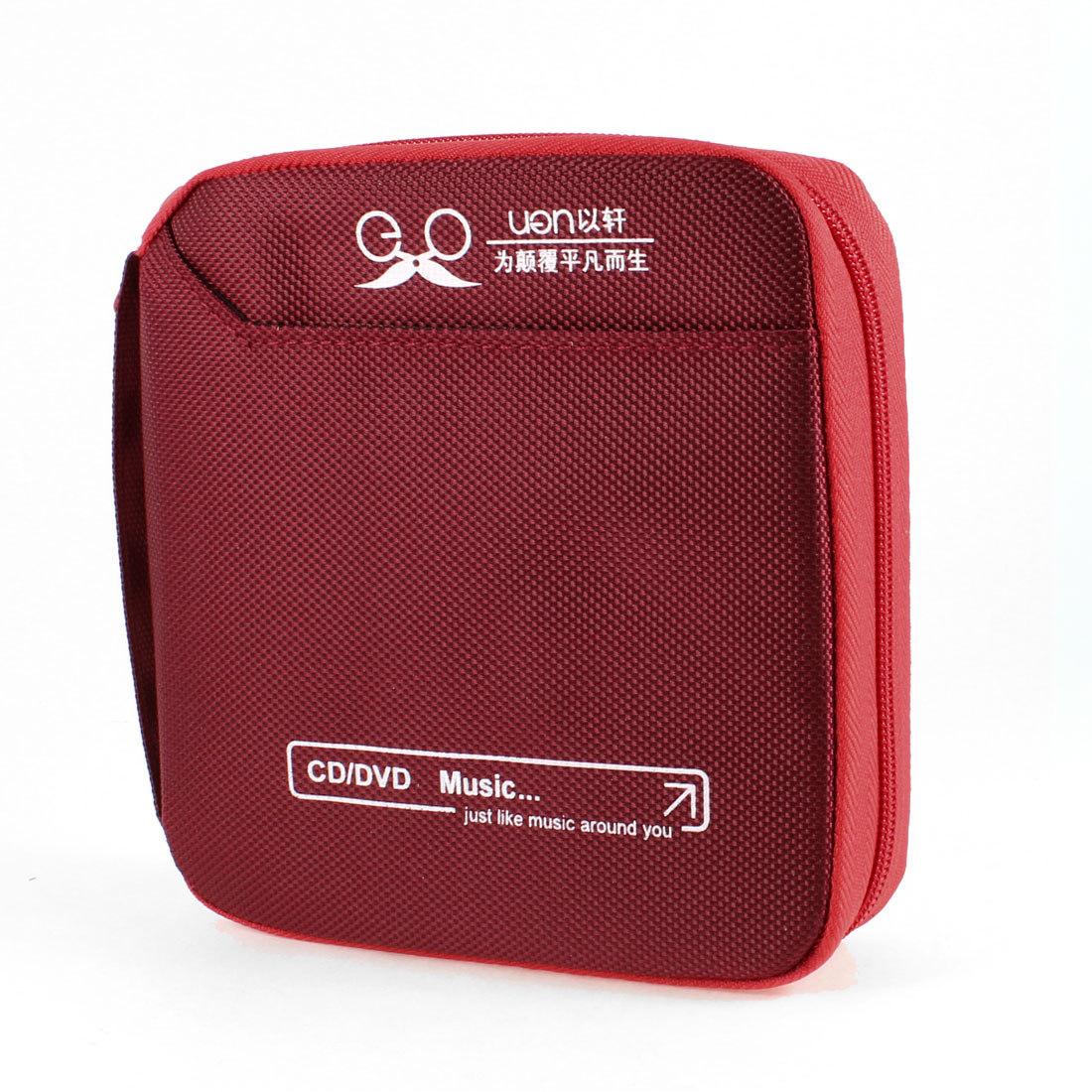 Cars Vehicles Square Nylon Cover Zip up 32pcs Capacity CD Bag Case Dark Red