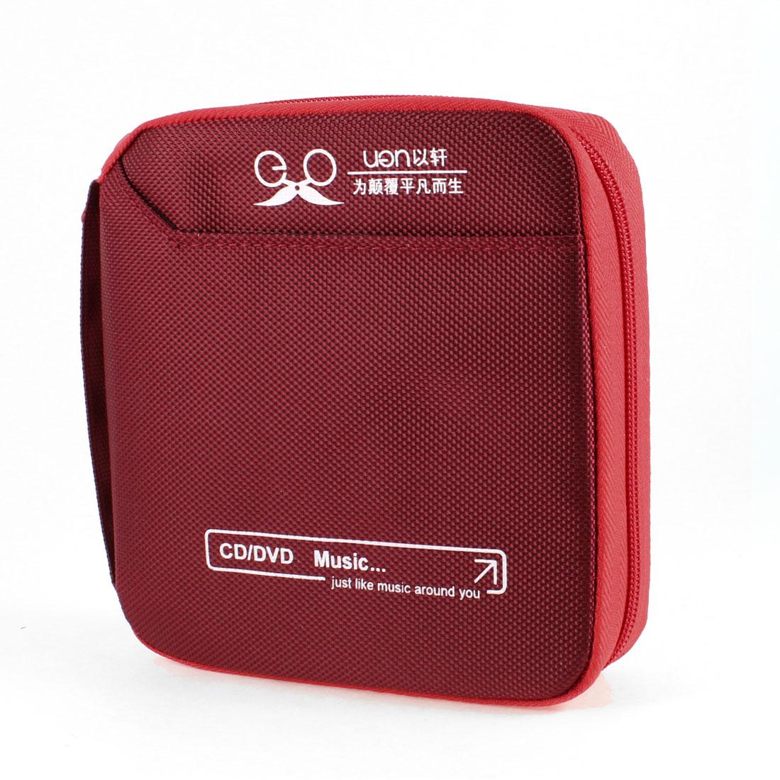 Cars Vehicles Square Nylon Cover Zip up 32pcs Capacity CD Bag Case Dark Red