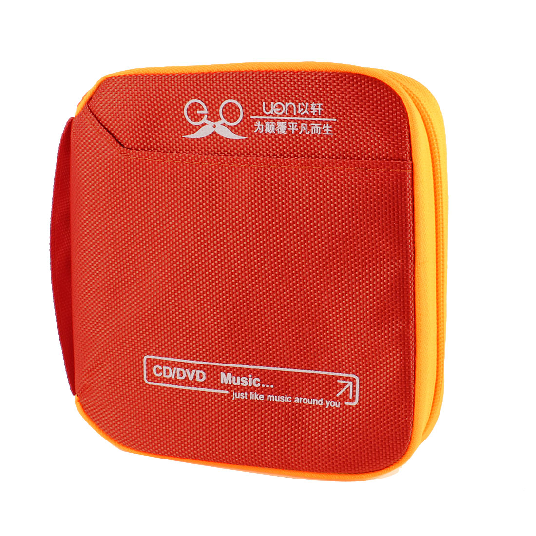 Car Nylon Square 32pcs CD DVD Discs Organizer Carrying Holder Red Orange