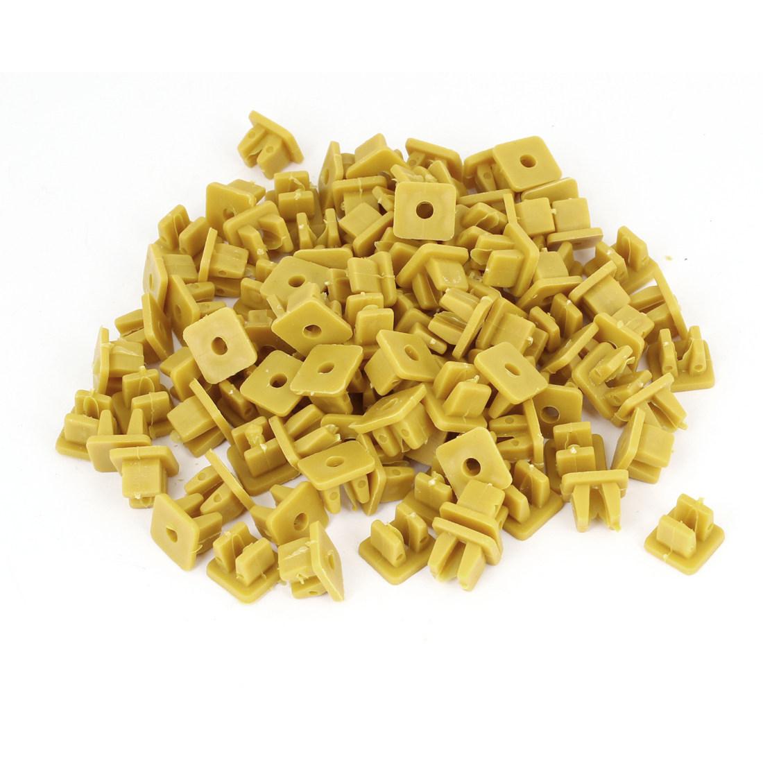 Car Fender Rectangular Push in Plastic Rivets Fasteners Dark Yellow 100PCS