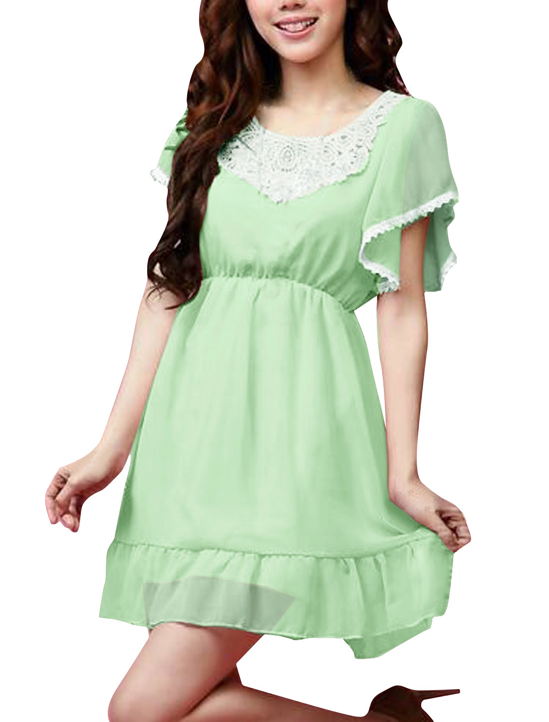 Women Chic Scoop Neck Short Sleeve Ruffled Hem Light Green Mini Dress L