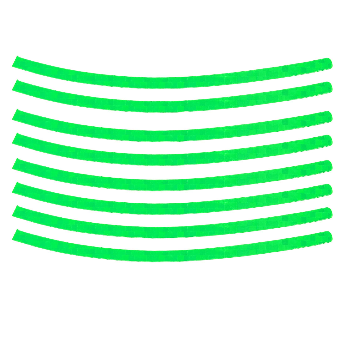 8 Pcs Vehicle Decor Green Curved Strips Reflective Wheel Decals