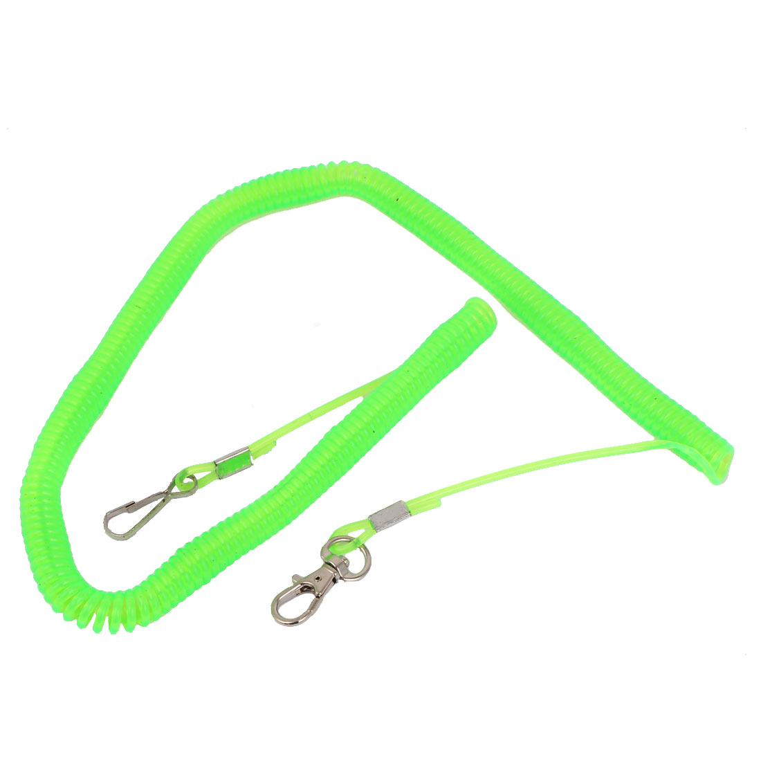 5Meters Lime Green Plastic Contractility Elastic Coiled Fishing Rope Cable