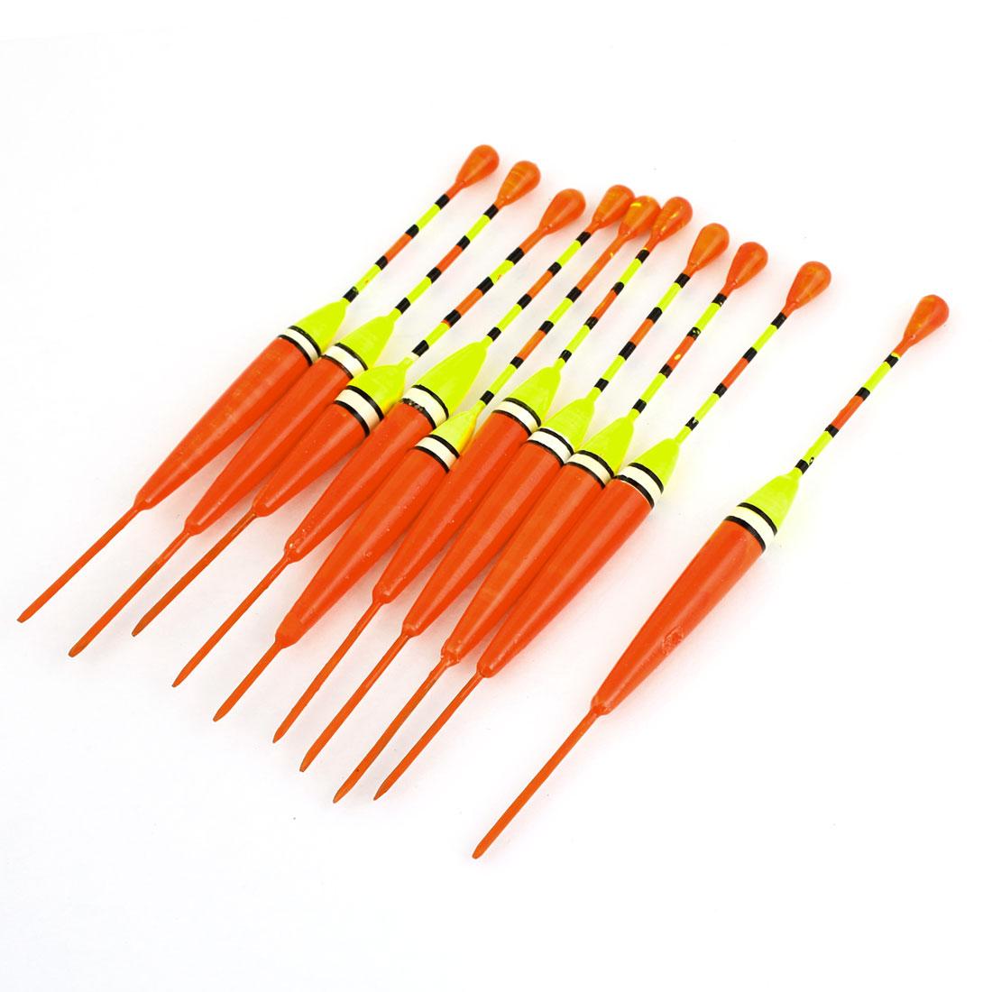 10pcs Orange Yellow Plastic Angling Fishings Float Floating Bobber 13.5cm Length