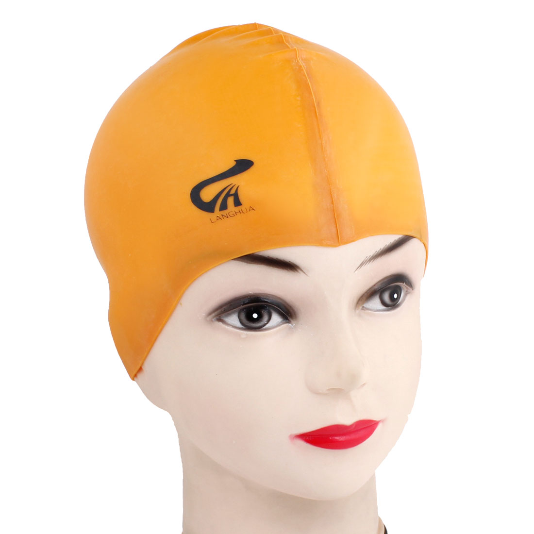 Orange Soft Silicone Stretch Swimming Swim Cap Hat for Women Men