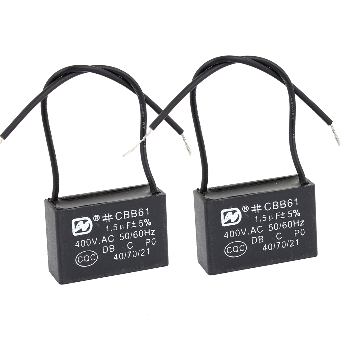 2Pcs 1.5 uf MFD 400VAC 50/60Hz Two Black Wire Electric Fan Capacitor CBB61