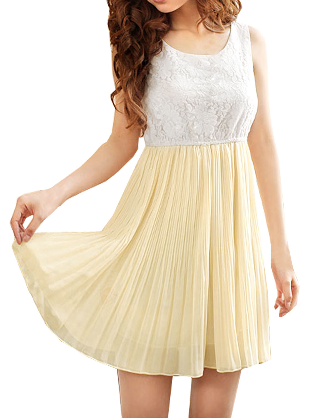 Ladies Chic Beige White Two-Tone Splice Pleated A-Line Dress S