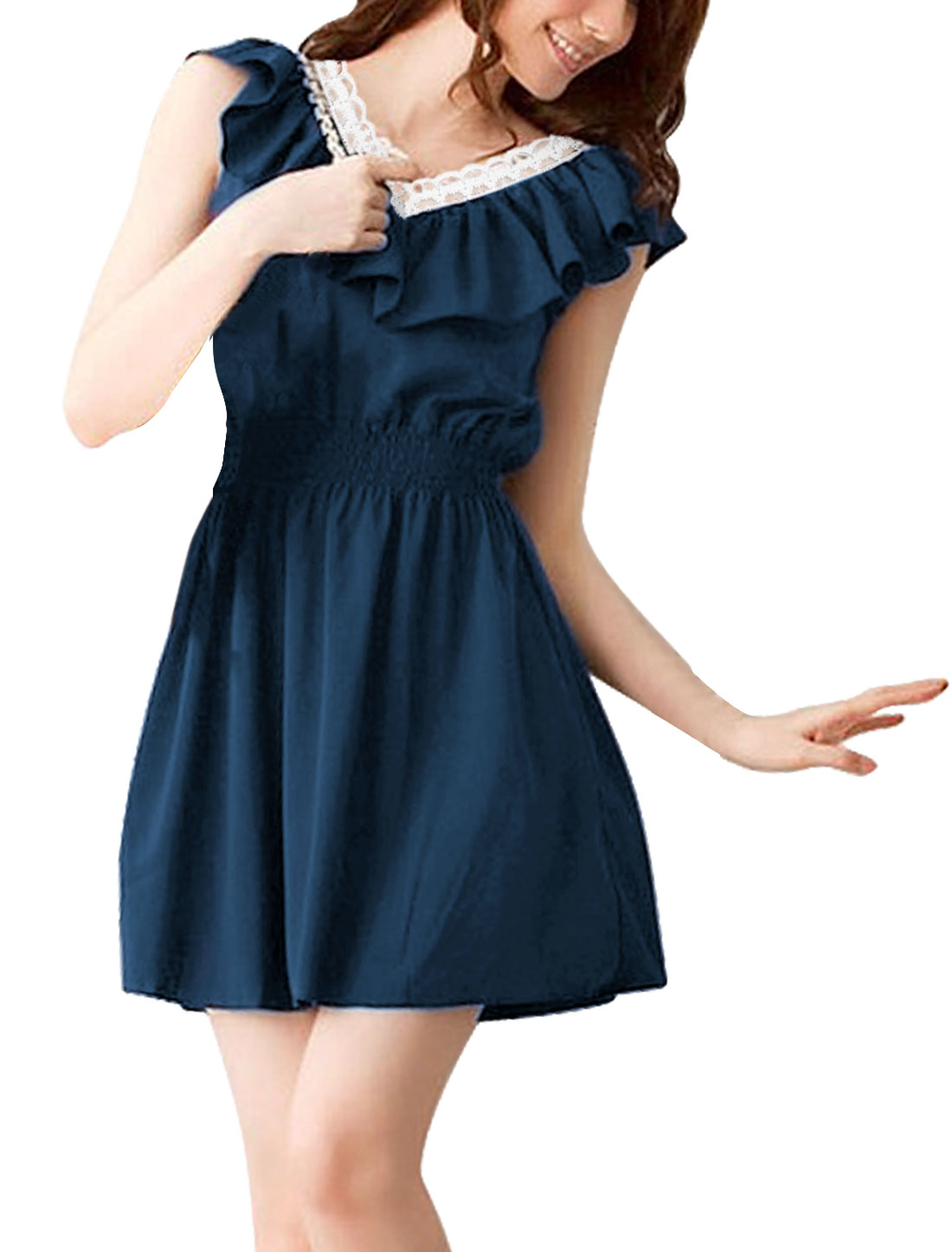 Woman New Fashion Elastic Smocked Waist Design Dark Blue Mini Dress XL