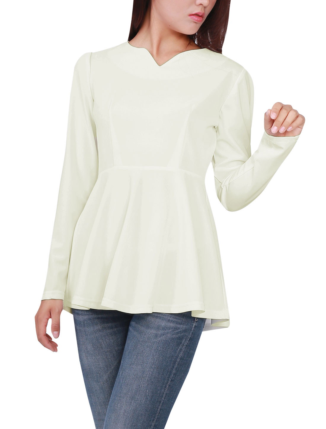 Woman NEW Split Neck Long Sleeve Pure White Peplum Tops M