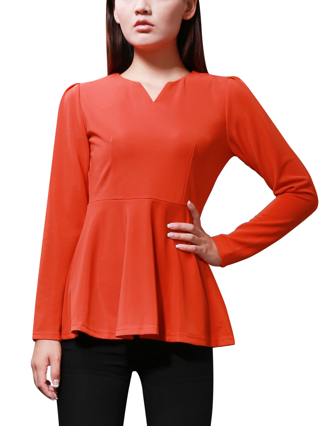 Women Solid Orange Color Hidden Zipper Back Closure Peplum Top L