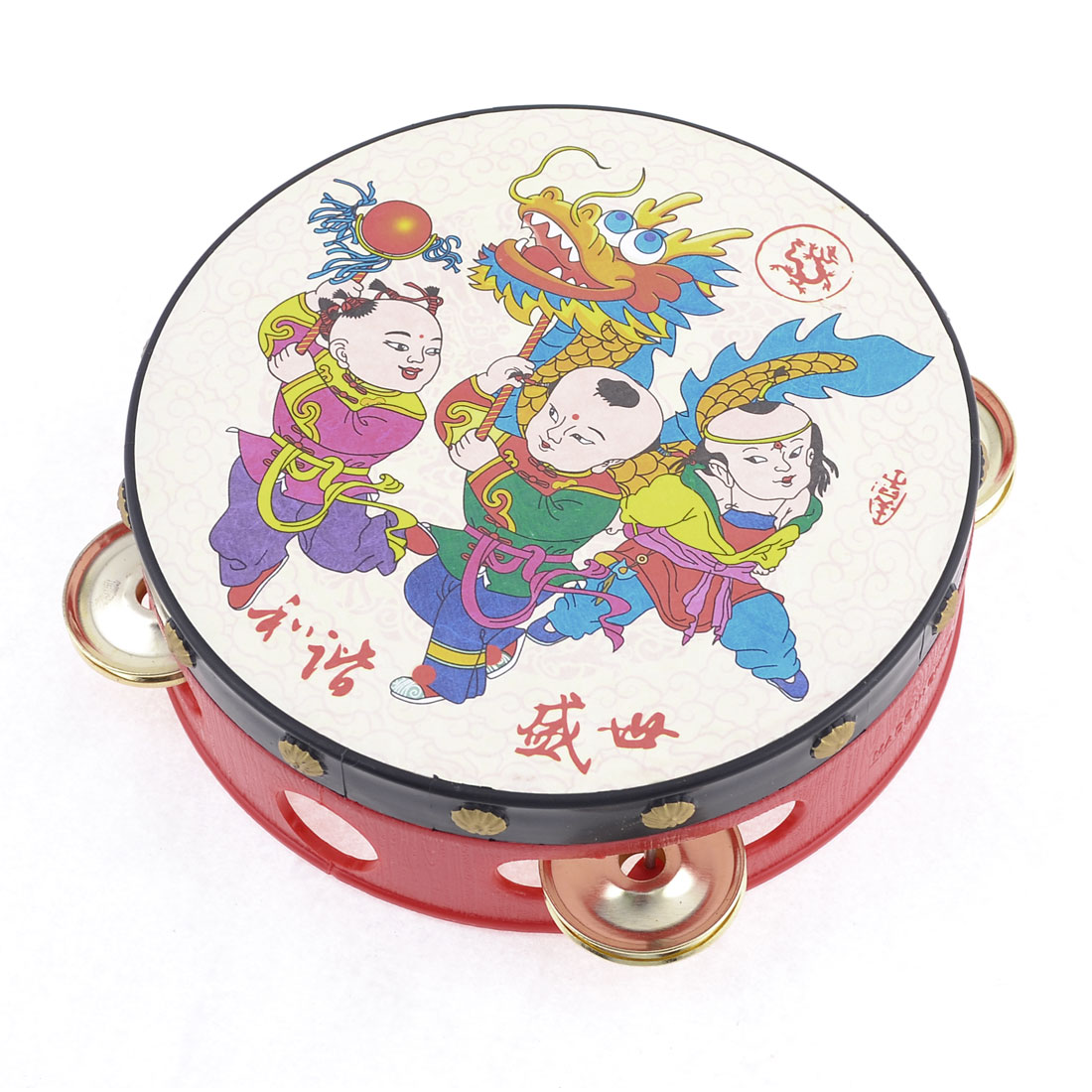 14cm Chinese Traditional Tambourine Beat Drum Hand Shake Toy for Infant Baby