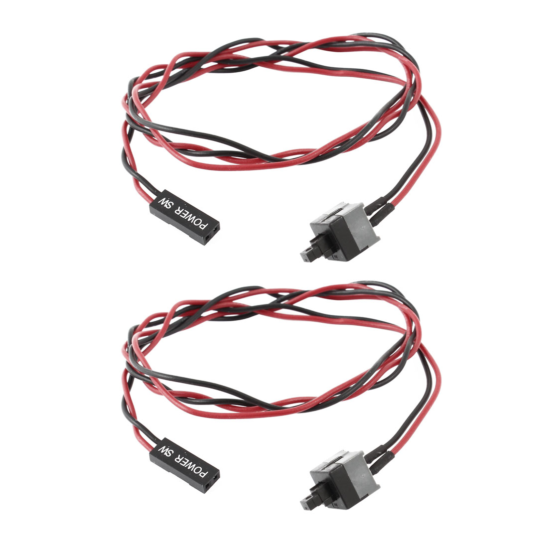 ATX Computer Case Power Supply Reset Switch Cable Cord Wire Line 2 Pcs