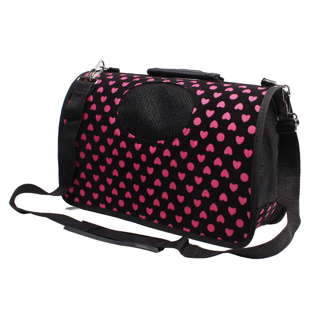 Heart Print Travel Shopping Carrier Carry Zipped Bag Black Pink for Puppy