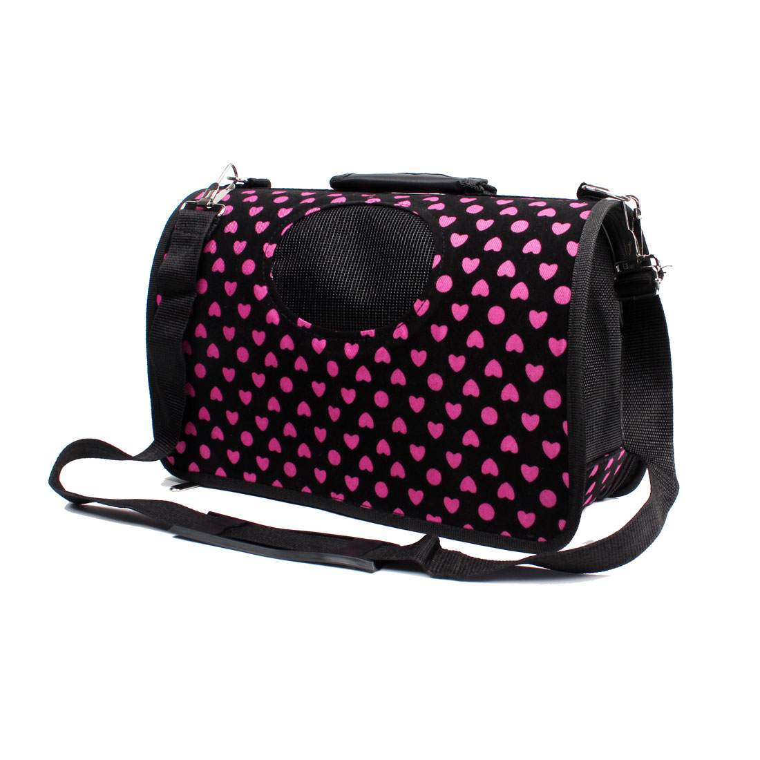 Dot Heart Pattern Dog Puppy Travel Shopping Carrier Carry Bag Black Pink