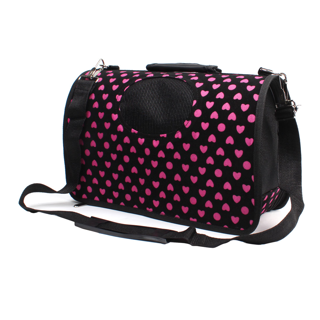 Dot Heart Pattern Dog Doggie Puppy Travel Shopping Carrier Carry Bag Black Pink