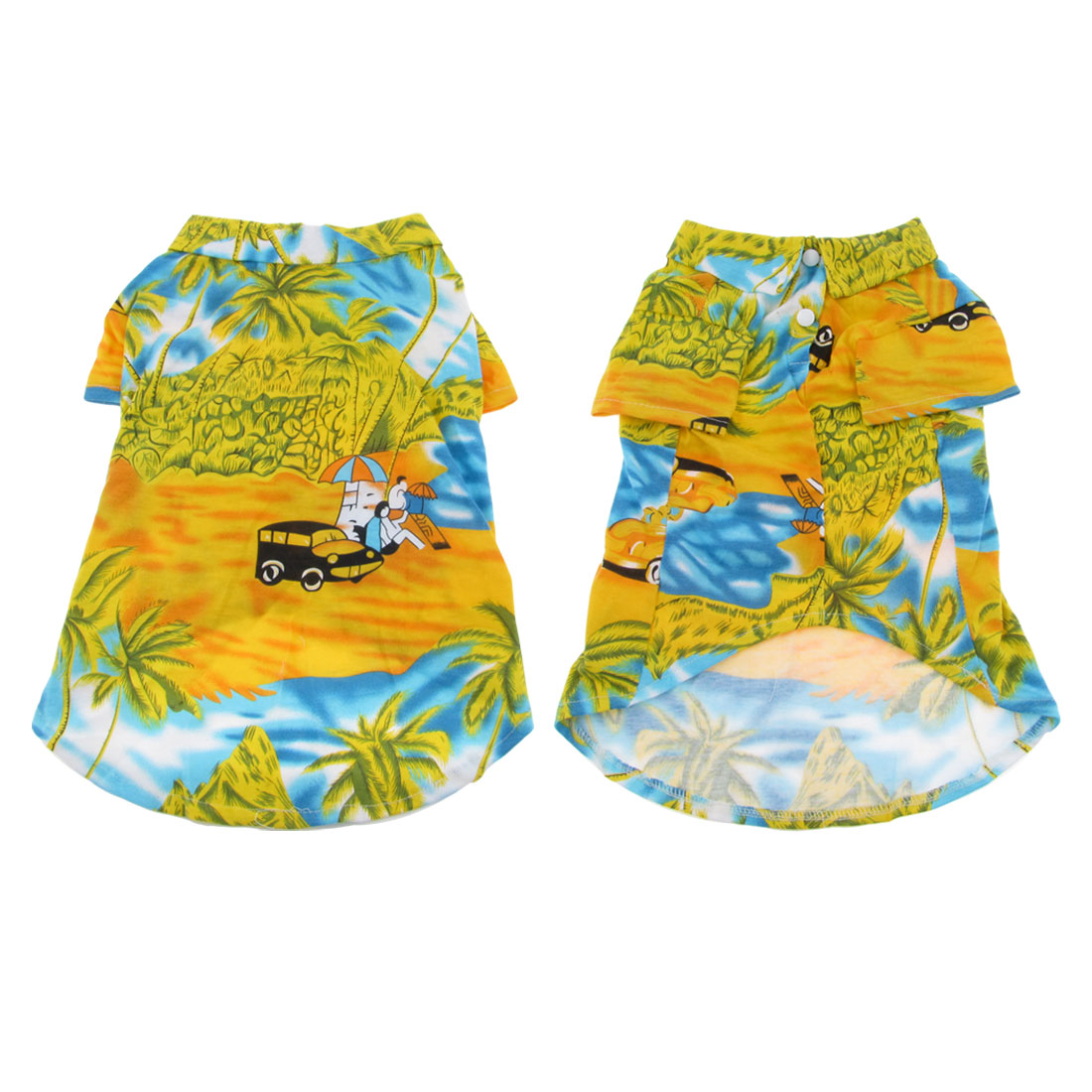 Pet Dog Yorkie Shirt Yellow Blue Beach Style Print Summer Clothes Apparel XL