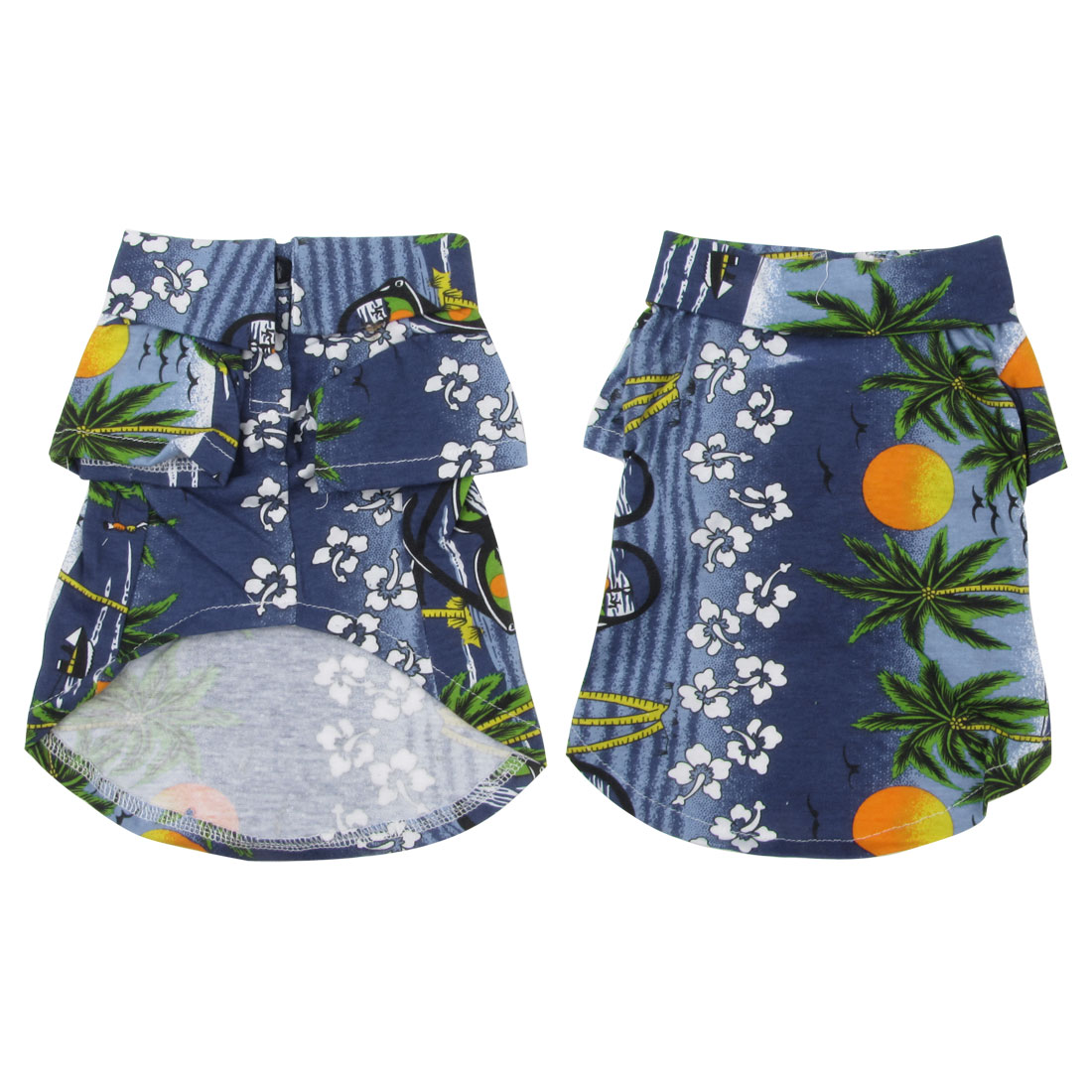 Dog Point Collar Tree Flower Print Beach Shirt Summer Clothes Blue Size XS