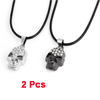 Couples Black String Silver Tone Dark Gray Skull Necklace Pair