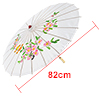 Colored Plum Blossom Pattern Bamboo Frame Oriental Umbrella Parasol White