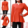 Stylish Women Orange Color Split Neck Long Puff Sleeve Peplum Top M