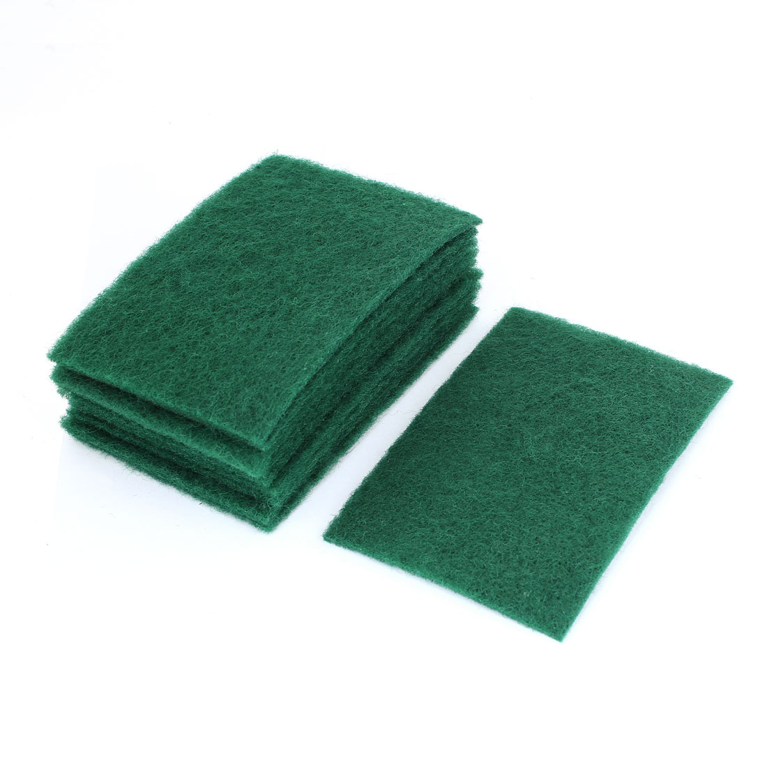 10 Pcs Green Rectangle Shaped Cleaning Pads Scourers