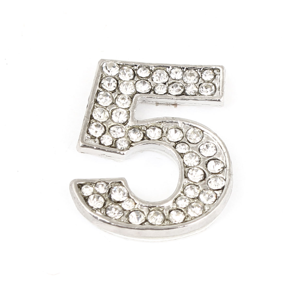 Bling Rhinestones Inlaid Silver Tone Arabic Number 5 Shaped Car Sticker Decor