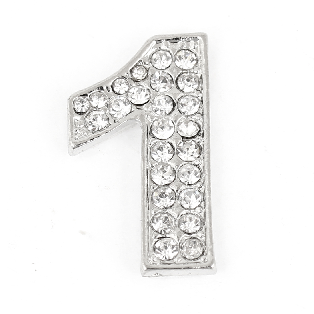Rhinestones Inlaid Silver Tone Arabic Number One Shaped Car Sticker Decoration