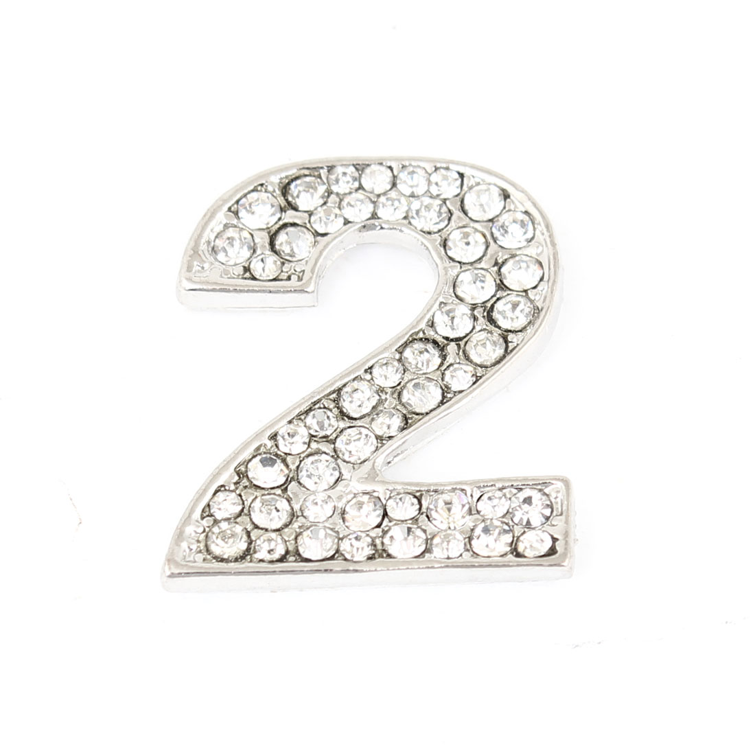 Bling Rhinestones Inlaid Silver Tone Digital Number Two Shaped Car Sticker Decor