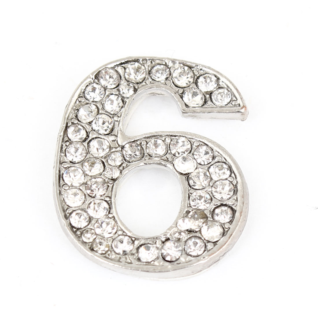Arabic Number 6 Shape Rhinestones Decor Metal Decorative Sticker for Auto Car