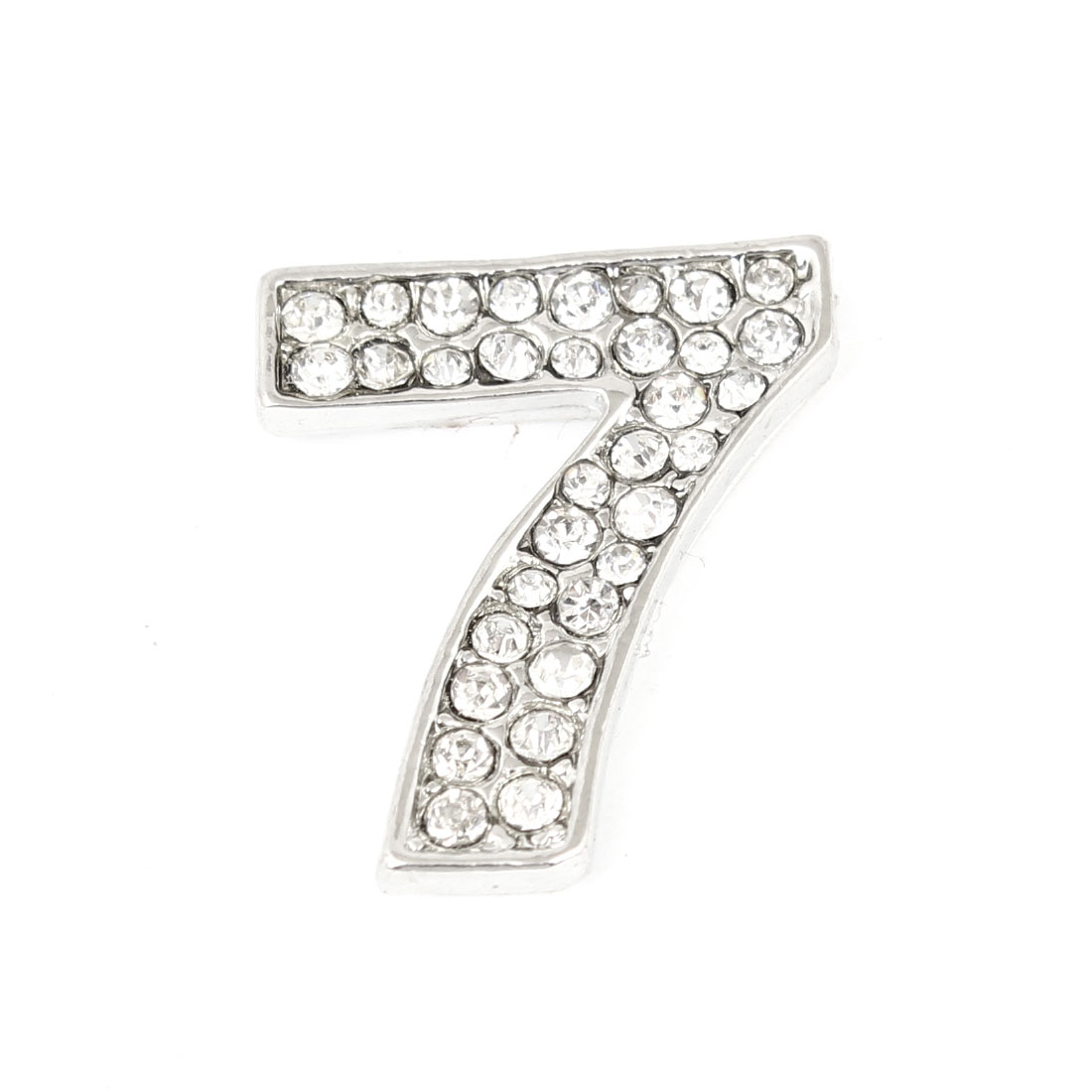 Car Bling Rhinestones Inlaid Silver Tone Arabic Number 7 Shaped Sticker Decor