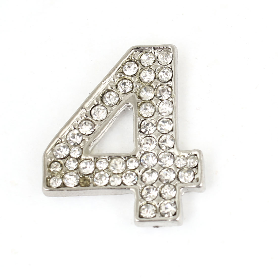 Vehicle Rhinestones Accent Silver Tone Arabic Number Four Style Sticker Decor