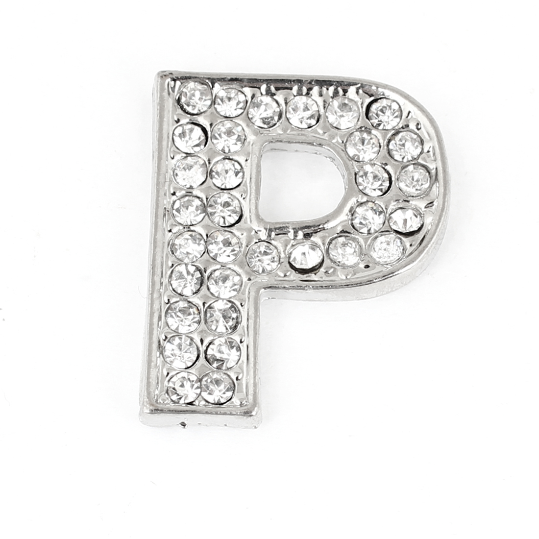 Car Automobile Rhinestones Silver Tone Letter P Shaped 3D Sticker Decoration