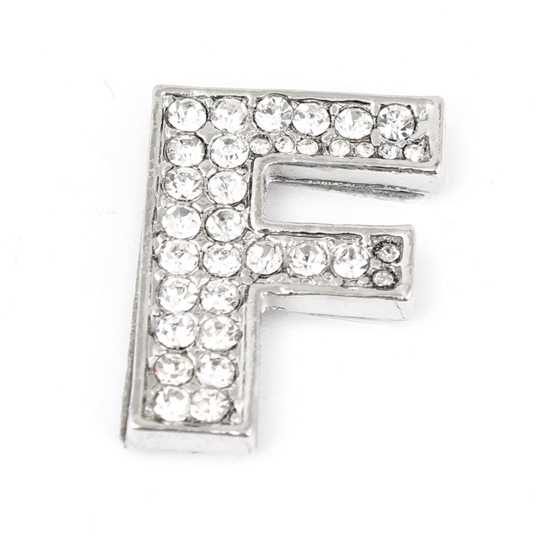 Car Vehicle Rhinestones Accent Silver Tone Letter F Style Sticker Ornament