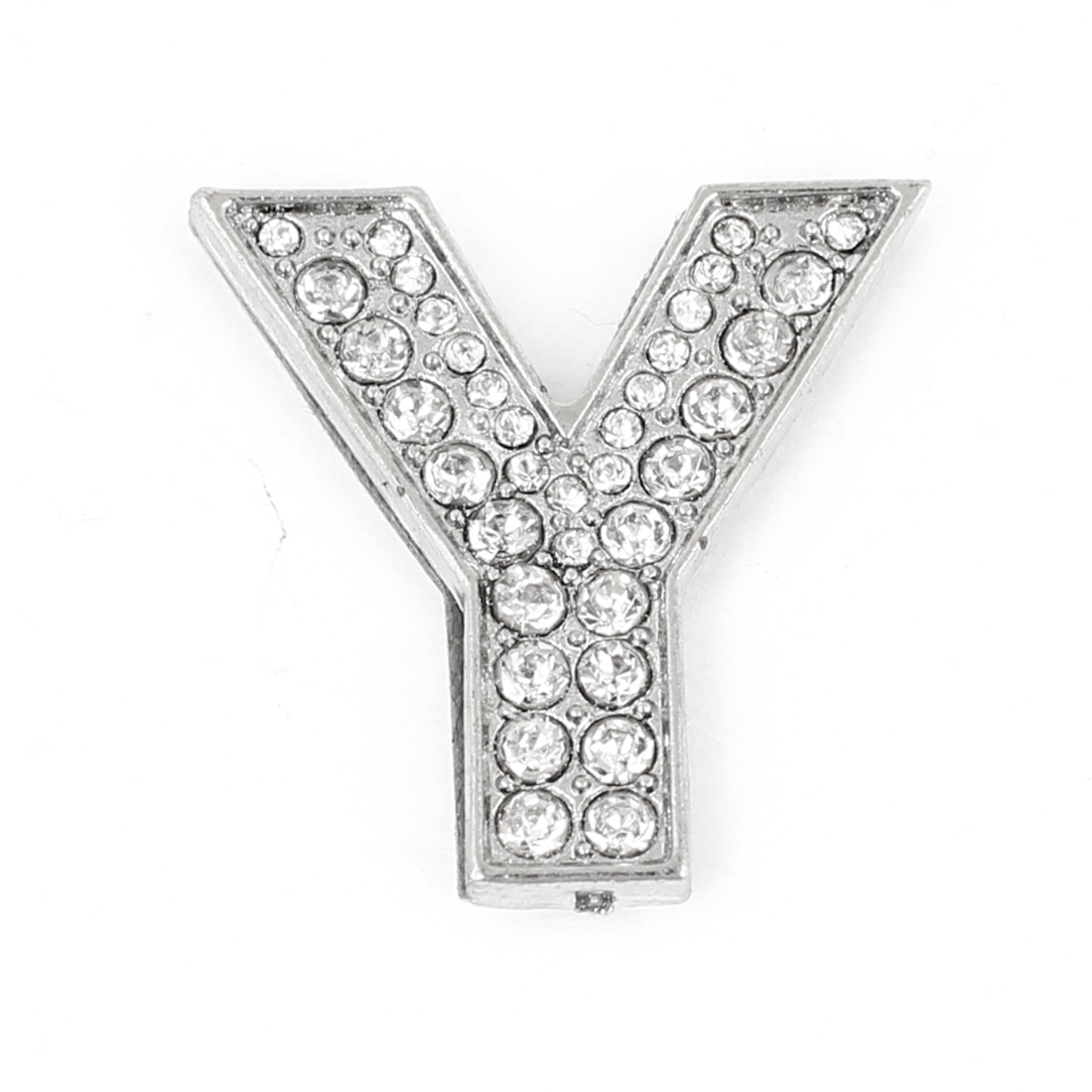 Letter Y Shape Rhinestones Accent Metal Decorative Adhesive Sticker for Auto