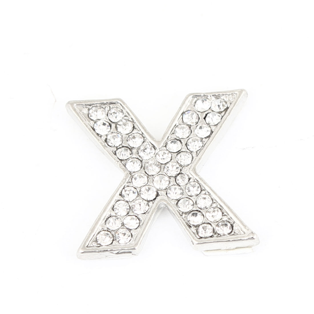 Car Truck Rhinestones Inlaid Silver Tone Letter X Shaped 3D Sticker Decoration