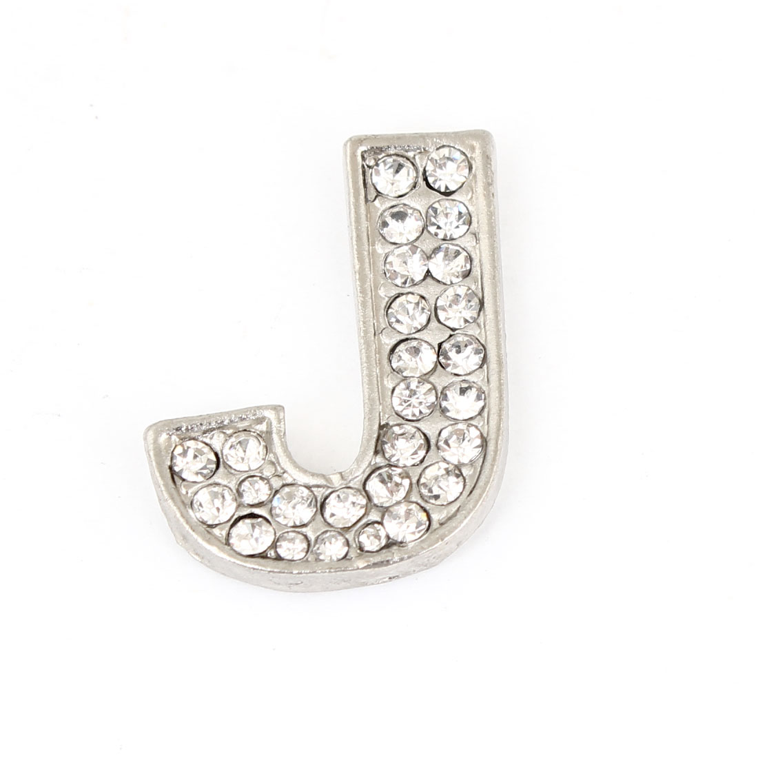Rhinestones Inlaid Silver Tone Letter J Shaped Car Automobile Sticker Decoration