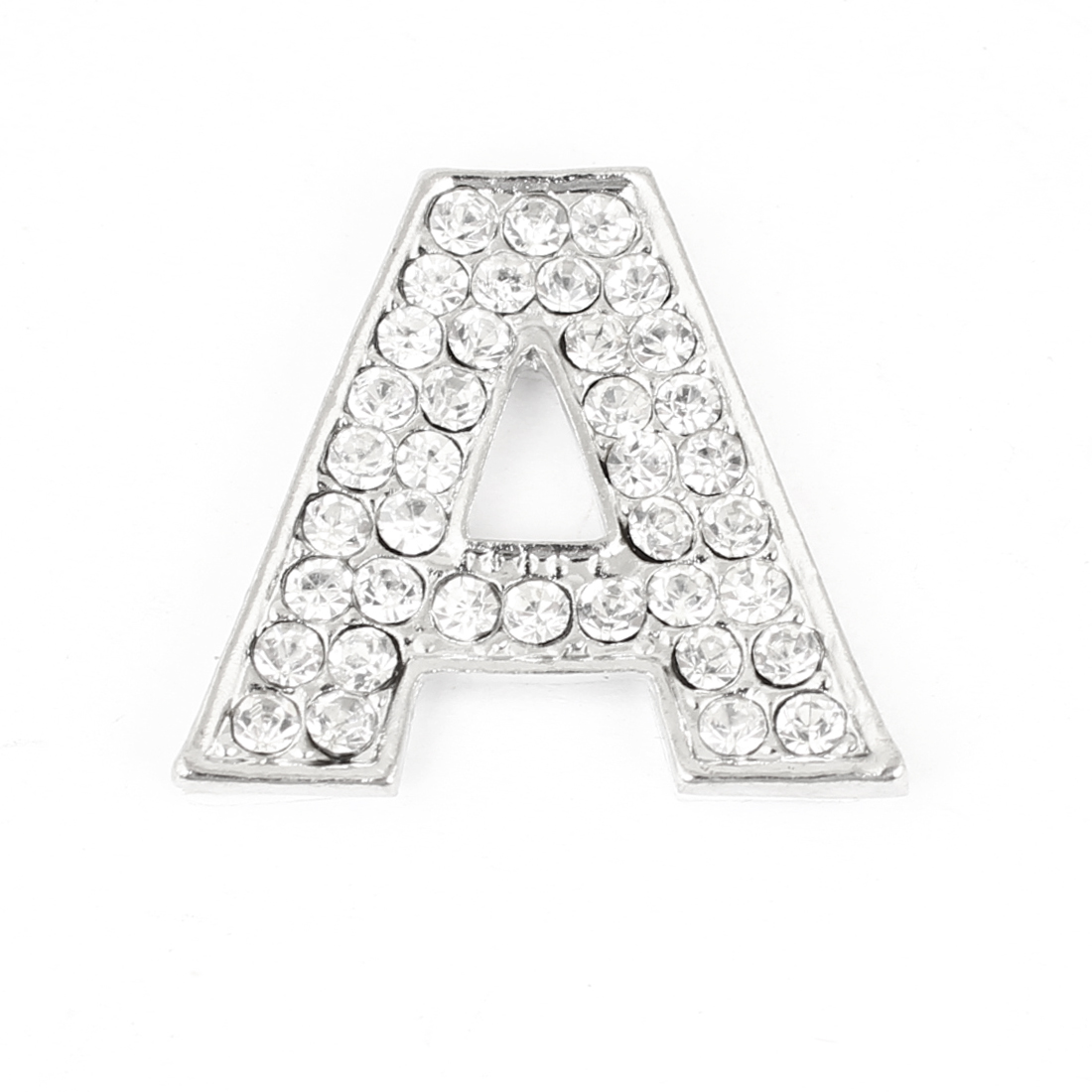 Bling Rhinestones Inlaid Silver Tone Letter A Shaped Car Sticker Decoration
