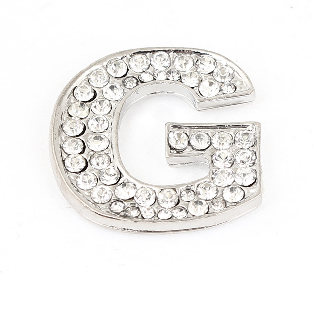 Bling Rhinestones Silver Tone Letter G Shaped Car Adhesive 3D Sticker Decoration